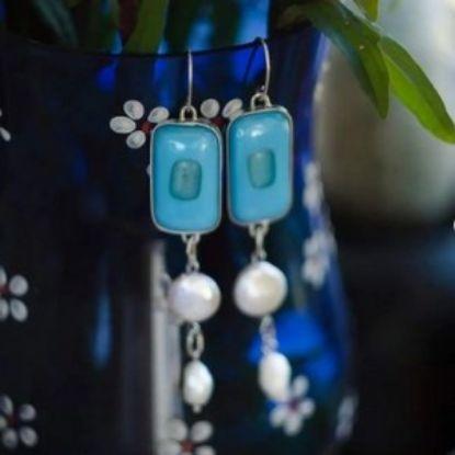 Зображення Сережки з перлами і ф'юзинговим склом