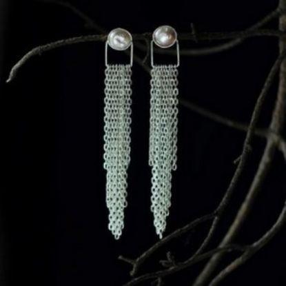 Зображення Сережки з перлами і ланцюгами