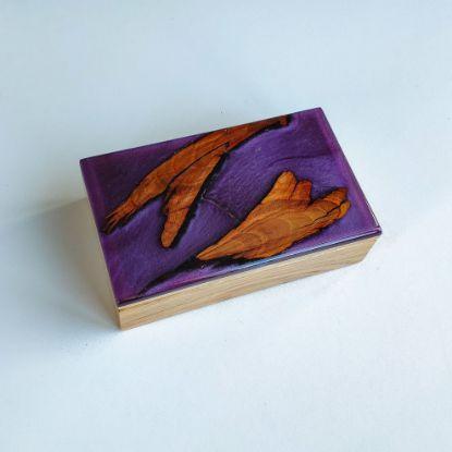 Изображение Шкатулка из дуба, фиолетовая с перламутром